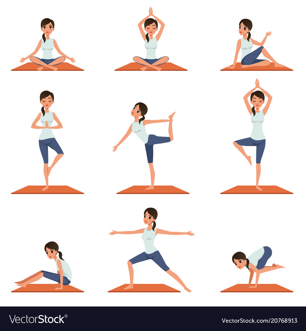 Set with young girl in different poses of yoga