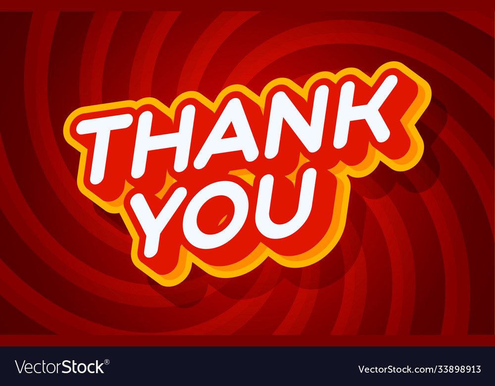 Thank you red and yellow text effect template