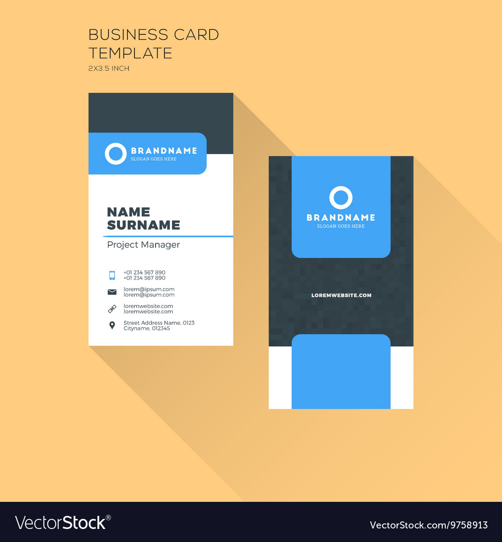 Vertical business card print template personal vector image wajeb Choice Image