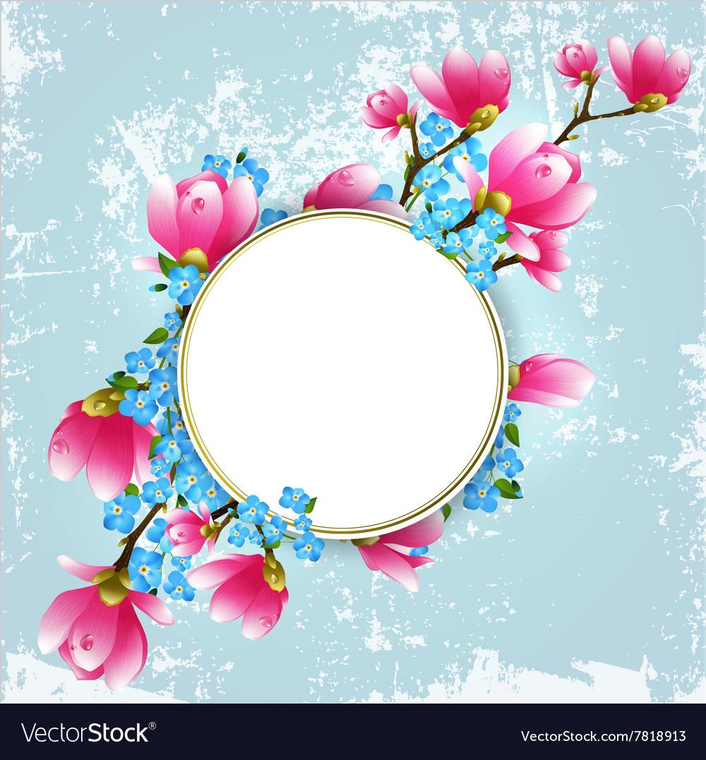 Vintage floral magnolia frame