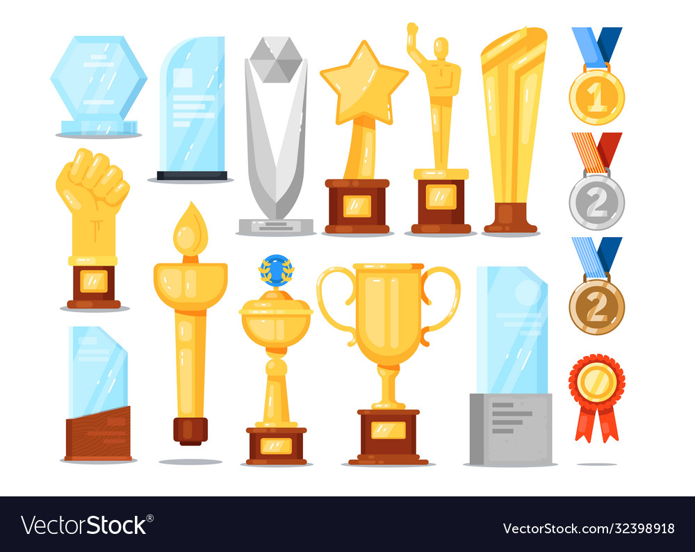 Award trophy set isolated gold cup medal star