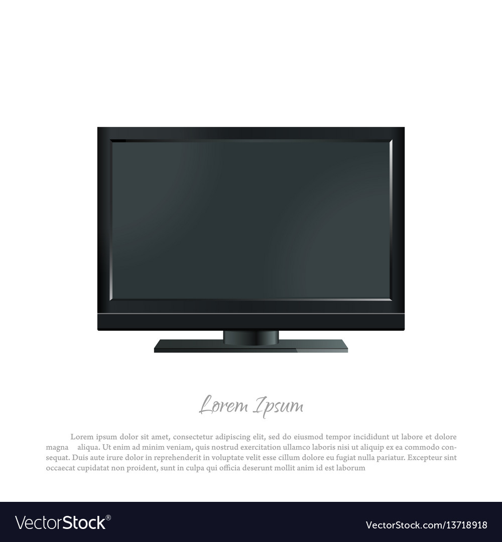 Black pc monitor on a white background