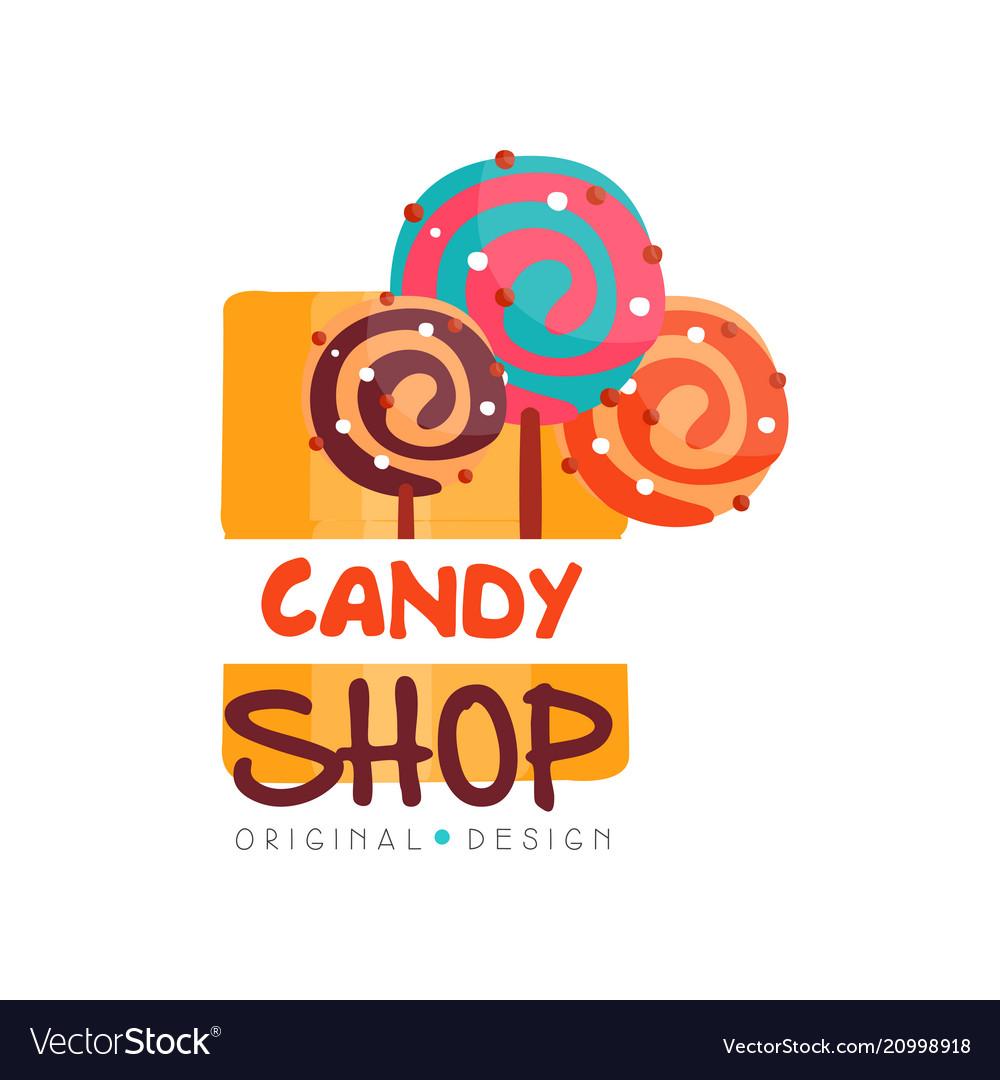 Candy hop logo design template sweet store badge