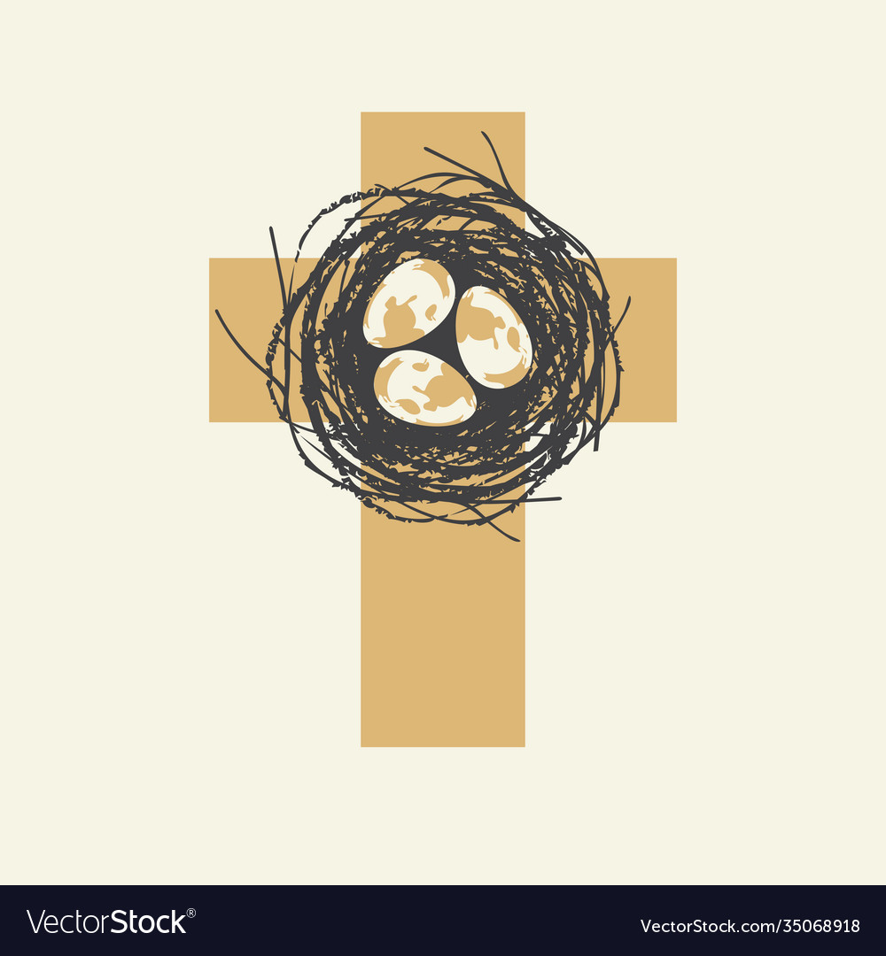 Cute easter cross design with eggs in nest