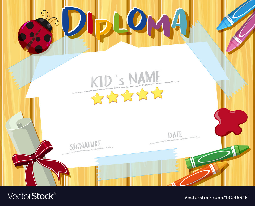 diploma template with crayons and ladybug vector image