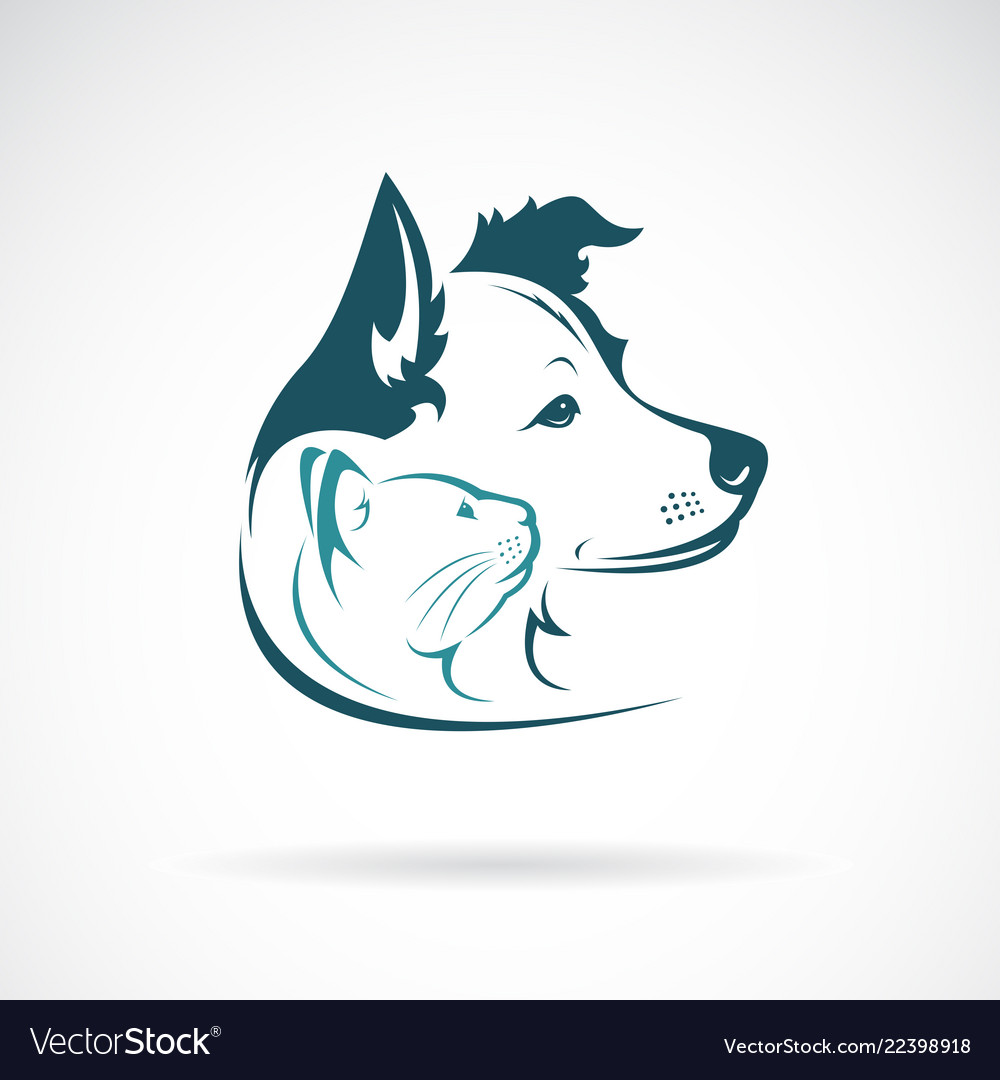 Dog and cat head design on a white background pet