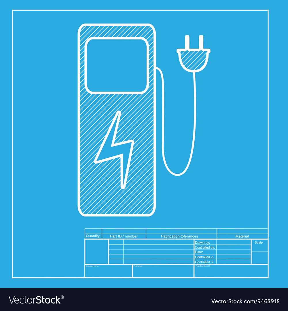 Electric Car Charging Station Sign White Section Vector Image Charger Diagram