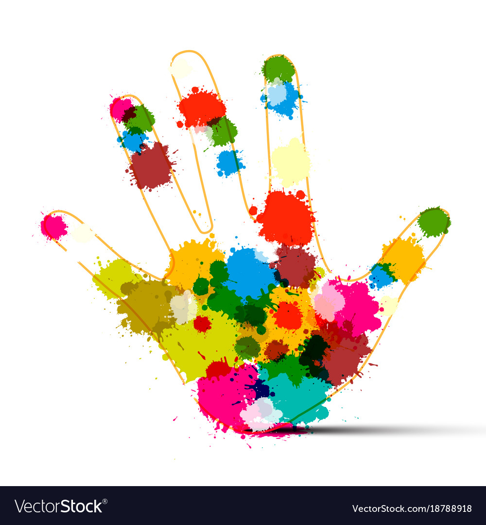 Human hand with colorful splashes art creation