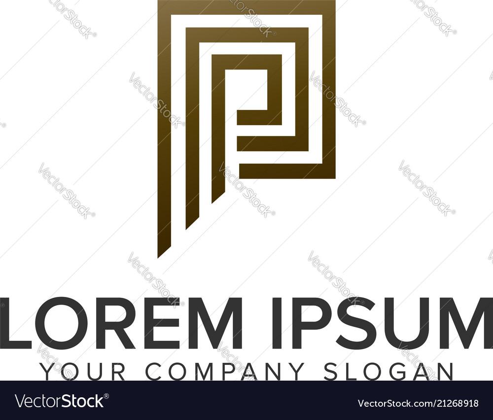 Letter p luxury line logo design concept template