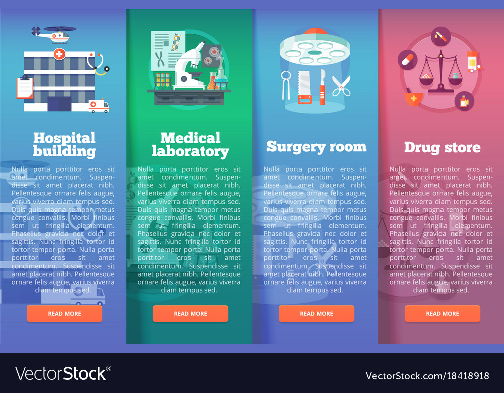 Set of medical science flat banners