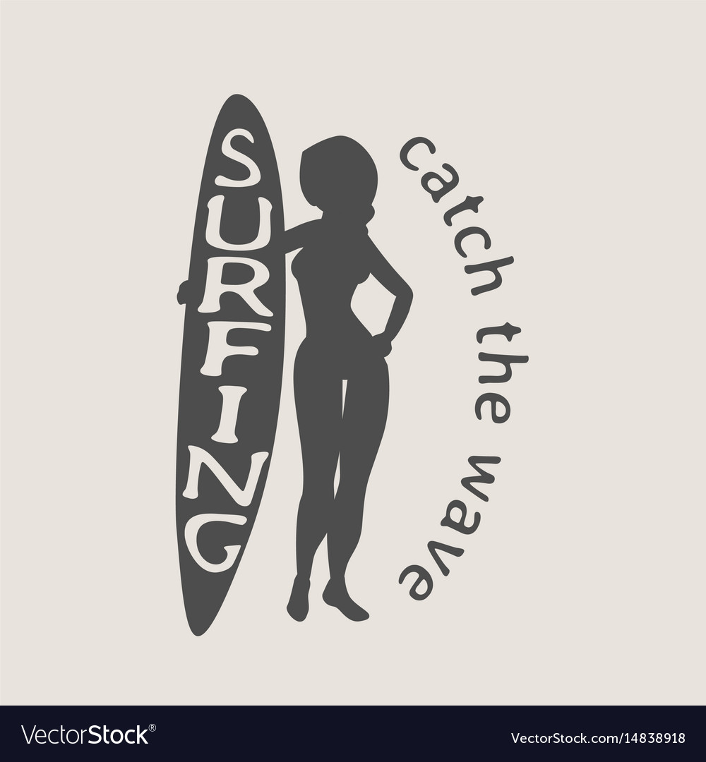 Surfing logo icon or symbol with silhouette of