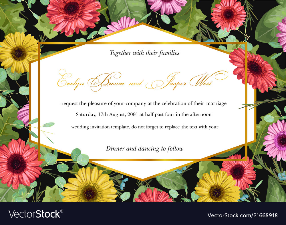 Template Watercolor Floral Invitation Of Gerberas Vector Image