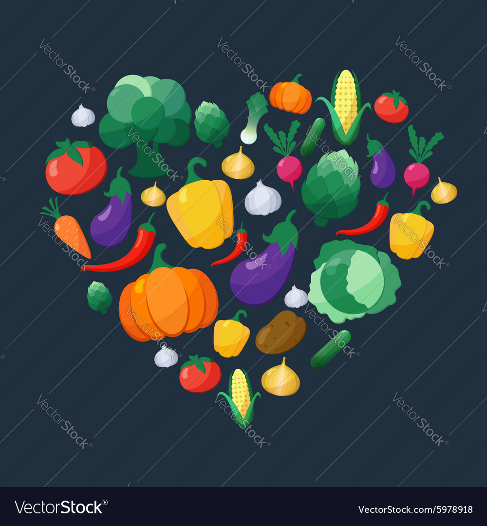Vegetables Flat Style Icons Set in Heart