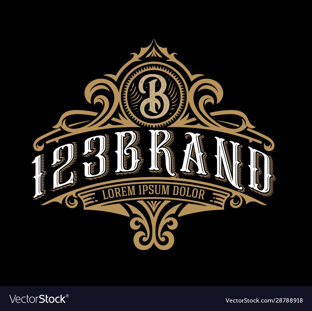 Vintage Luxury Logo Template Design For Label Vector Image