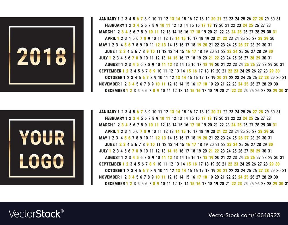 2018 calendar planner creative design template
