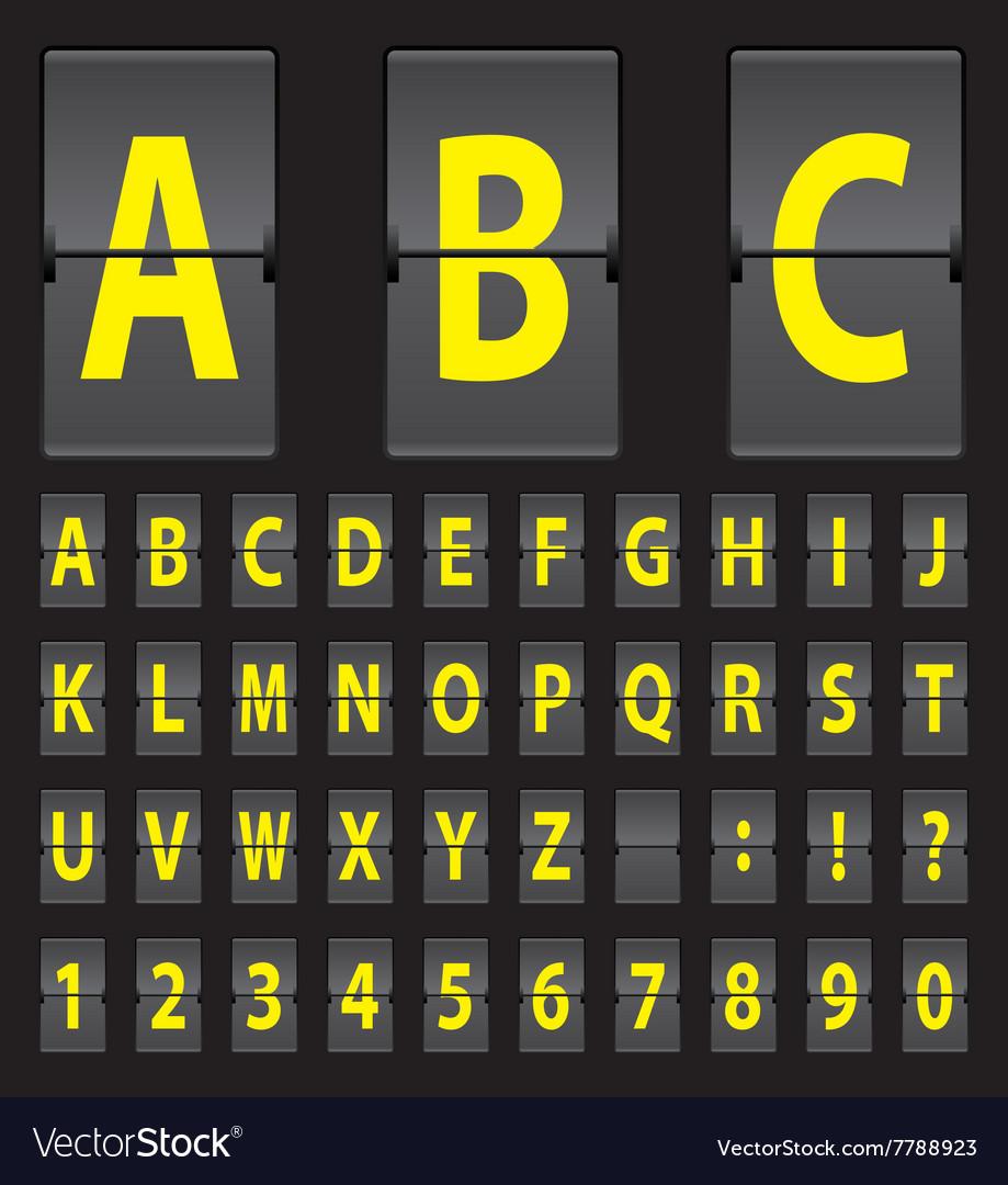 Alphabet of black mechanical panel