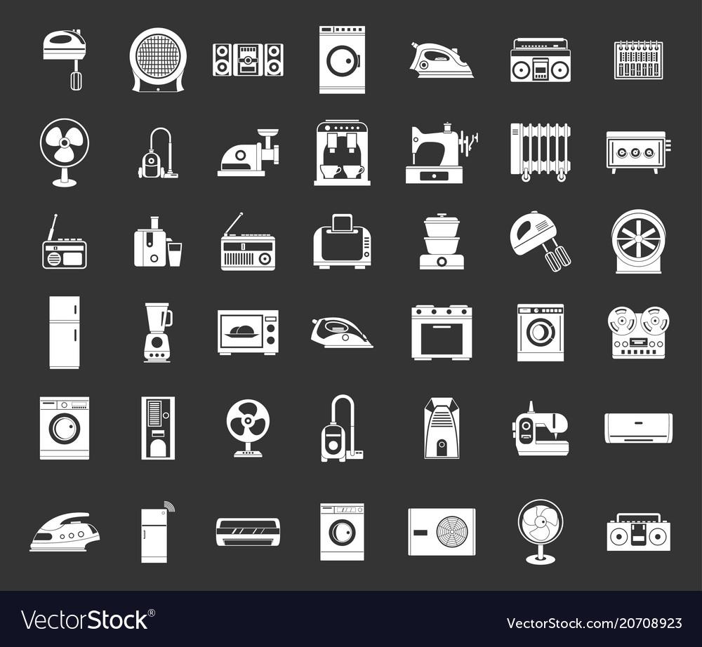 Appliances icon set grey