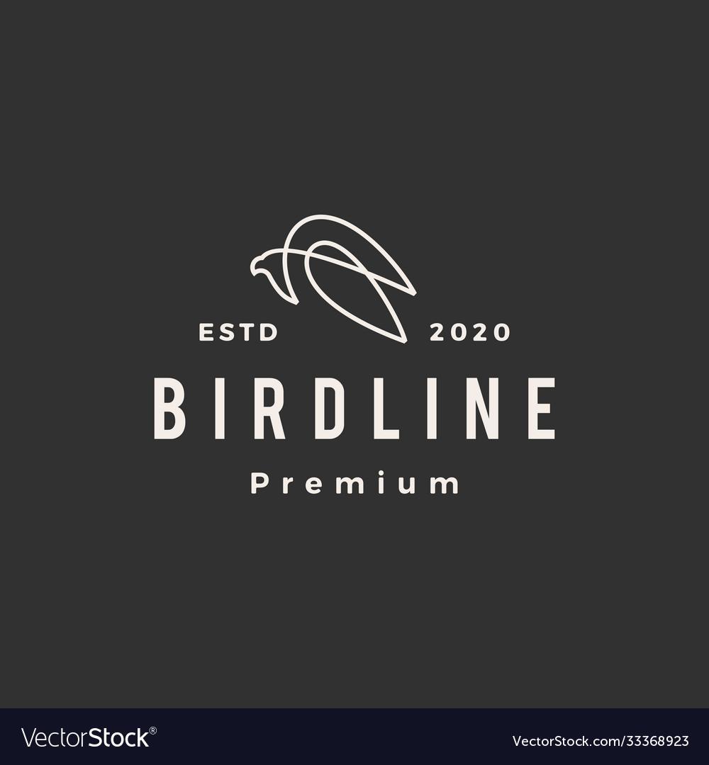 Bird line hipster vintage logo icon