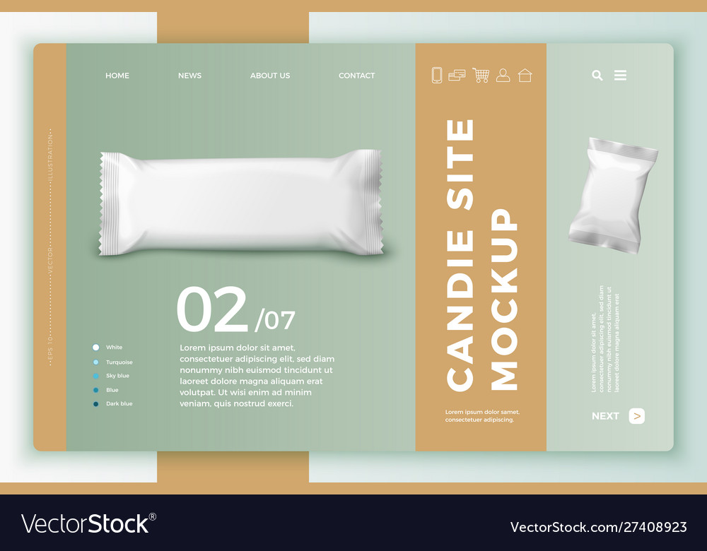 Candy bar on bright modern site template