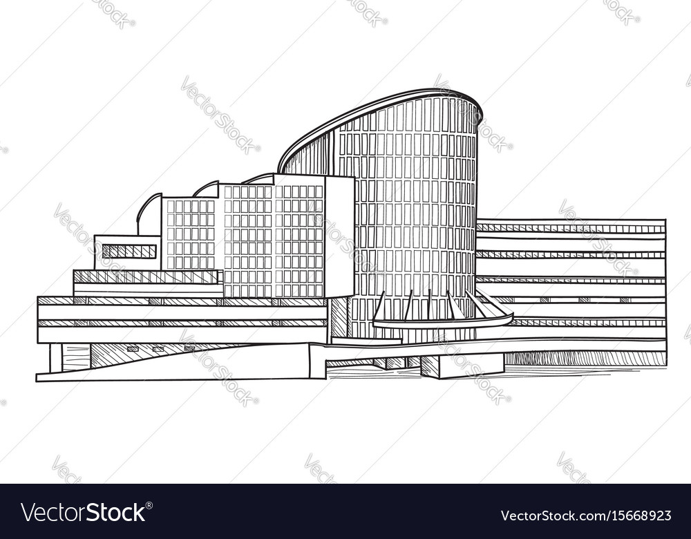 City building sketch isolated urban house facade vector image