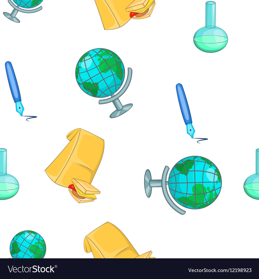 Education elements pattern cartoon style vector image