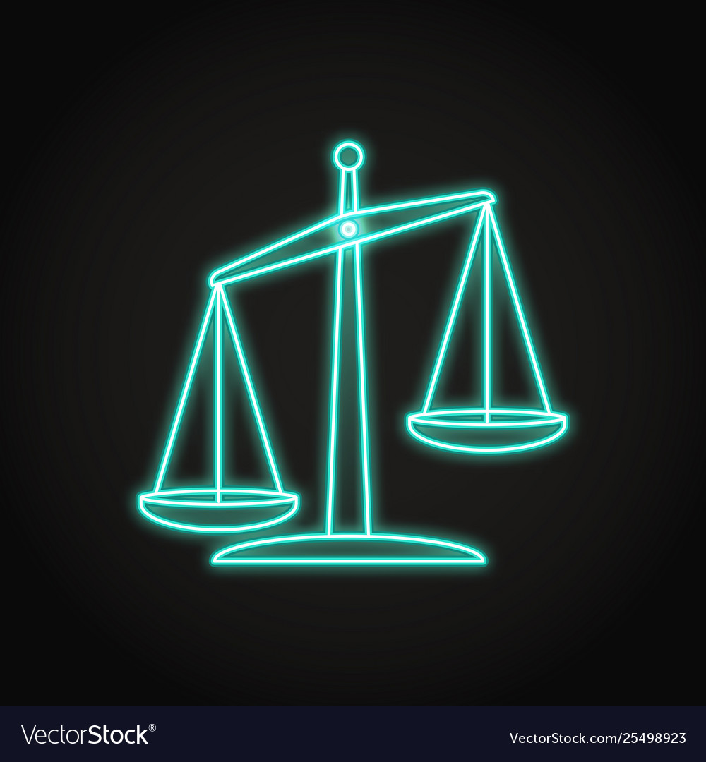 Glowing scales icon in neon line style