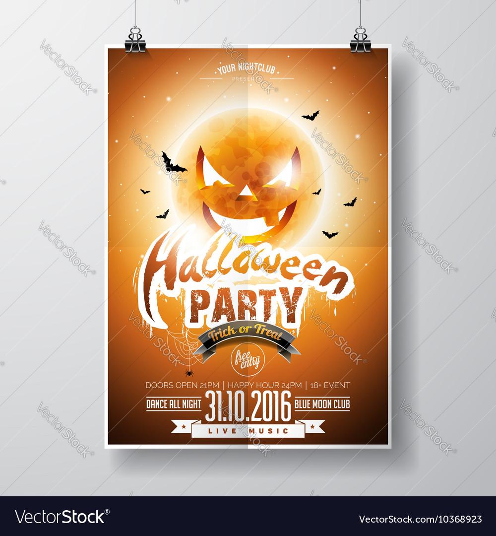 Halloween Party Flyer Design with pumpkin moon