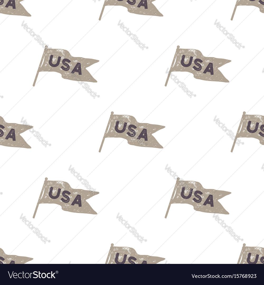 Hand drawn vintage pennant flags seamless retro