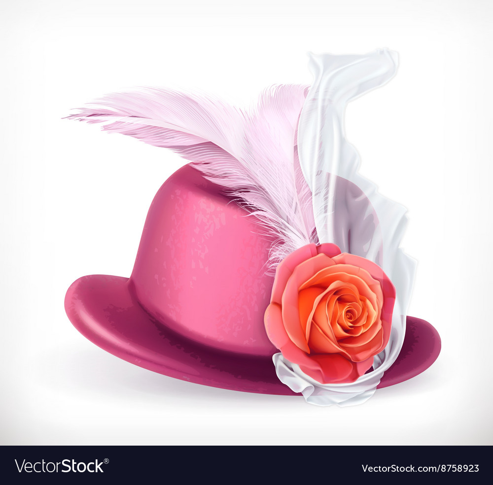 Hat with rose and feathers