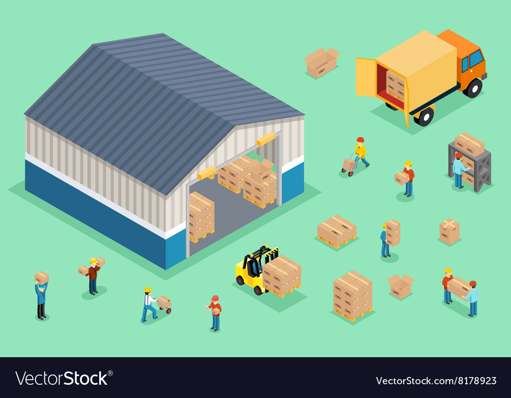 Isometric delivery and logistics vector image