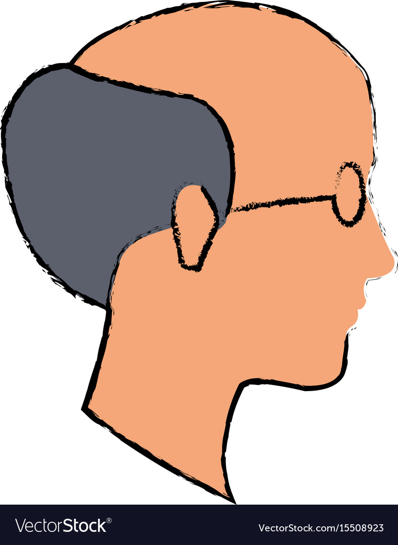 Profile old man bald with glasses