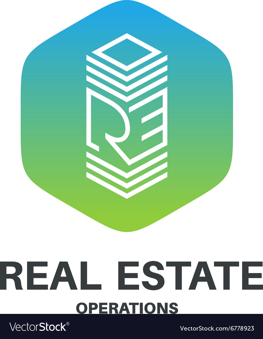 Real estate abbreviation monogram logo Skyscraper vector image