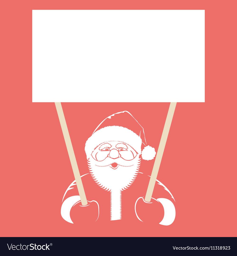Santa claus holding white blank