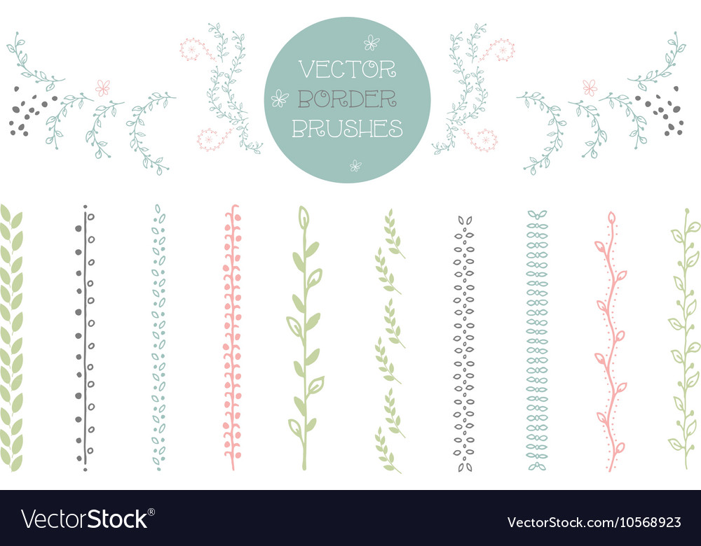 Set of 10 Brushes includes hand drawn floral vector image