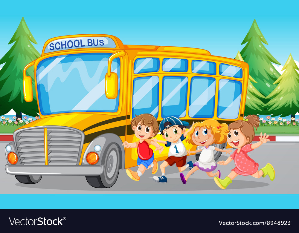 Students And School Bus On The Road Royalty Free Vector