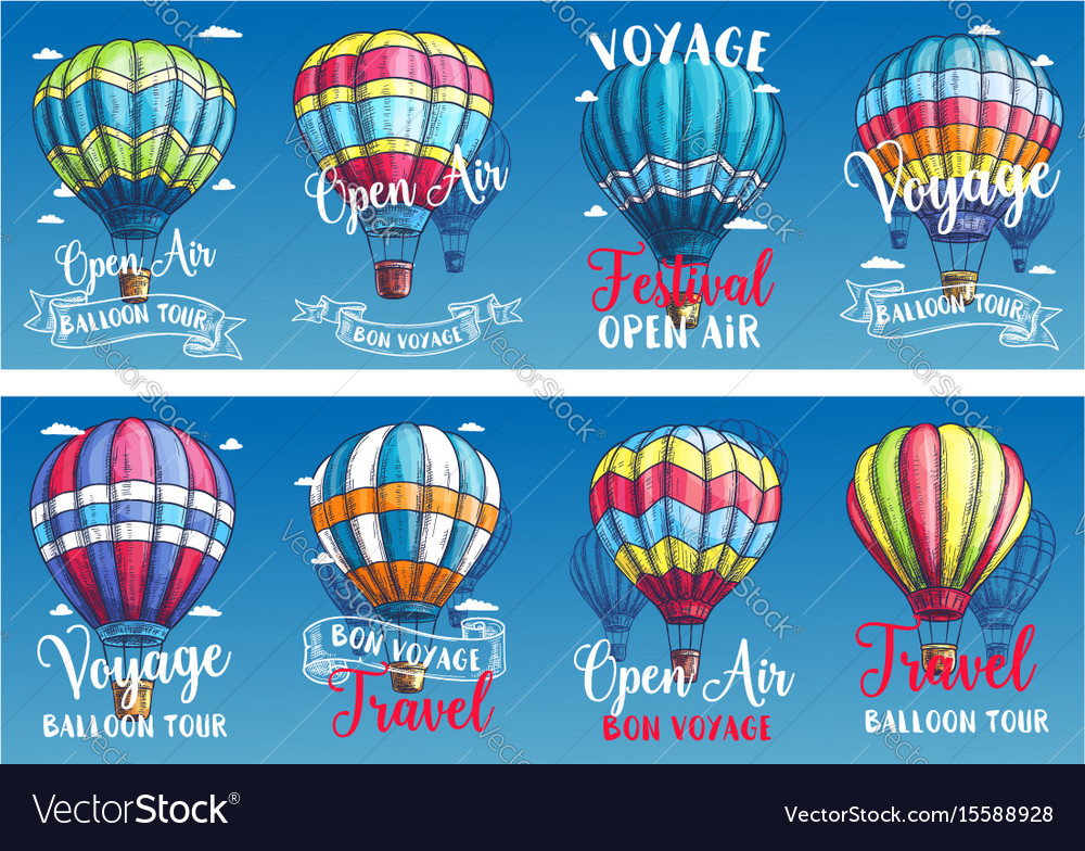 Banners for hot air balloon voyage festival