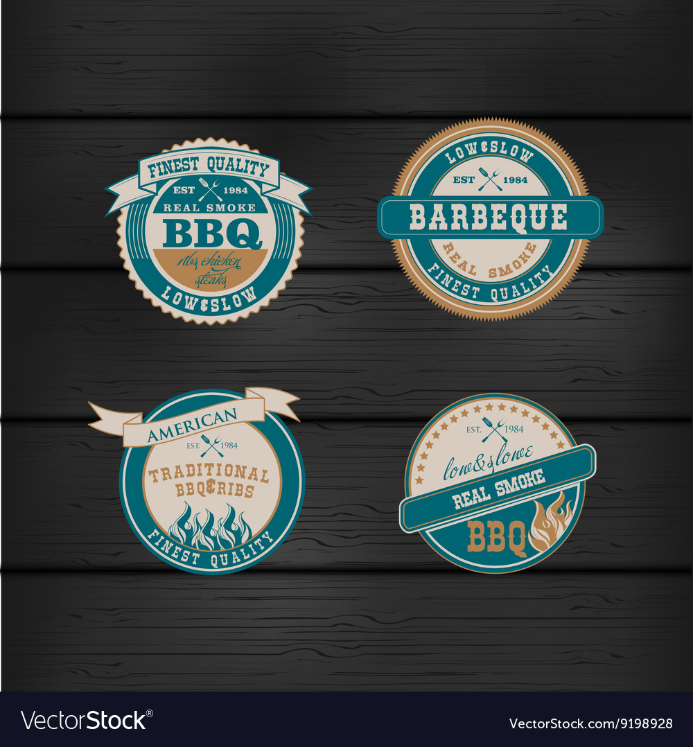Barbecue BBQ grill logo stamp retro set
