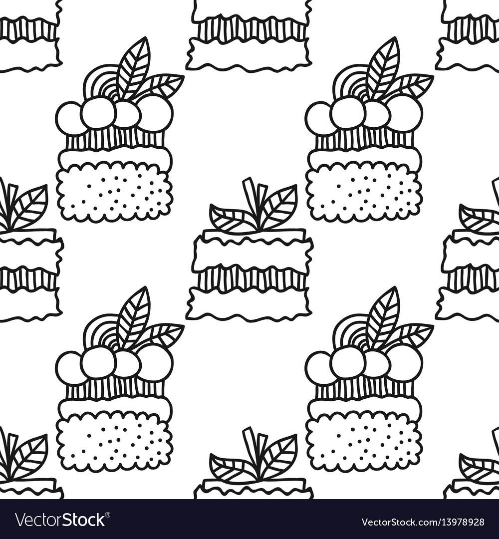 Black and white seamless pattern with cakes for