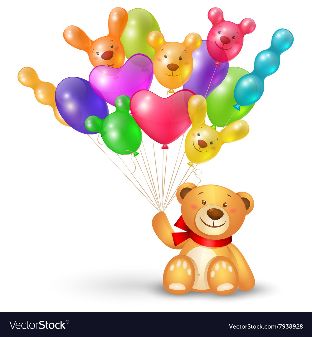 Cute teddy bear with a bunch of balloons