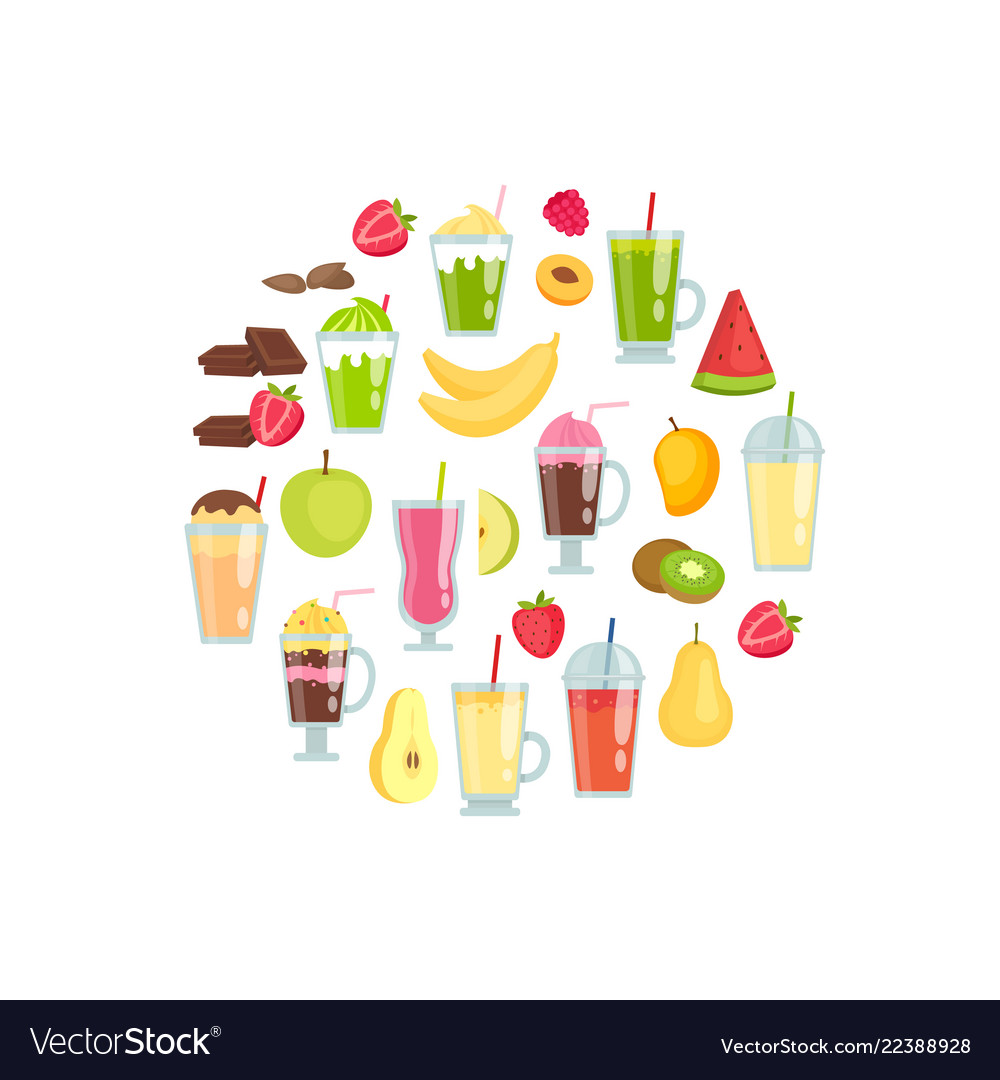 Flat smoothie elements in circle shape
