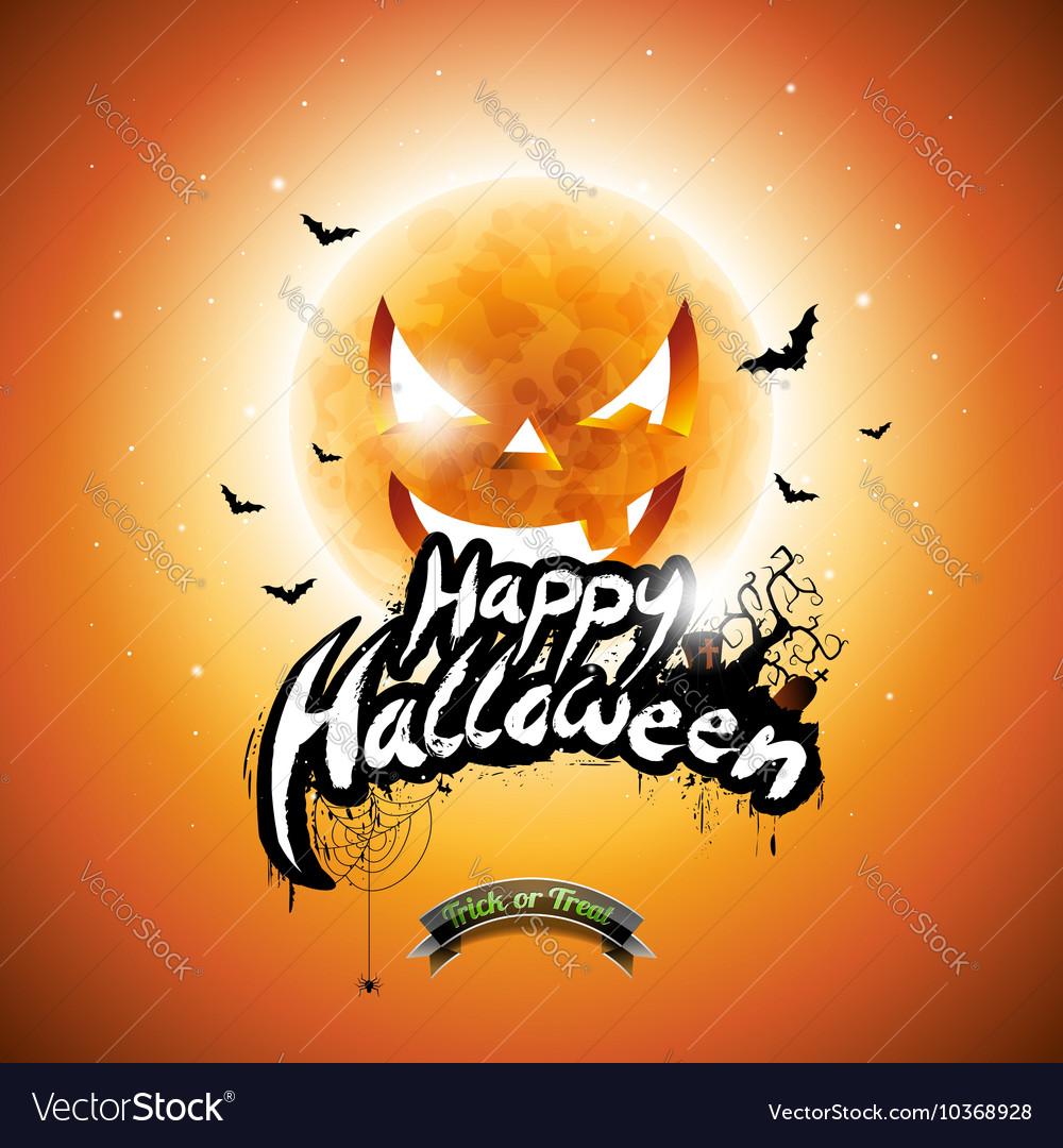 Halloween Party Flyer Design with pumpkin moon vector image