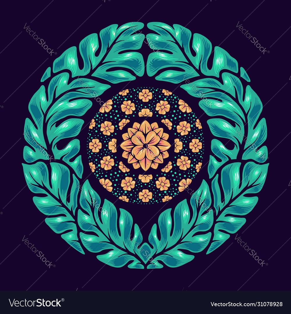 Hand drawn leaf mandala