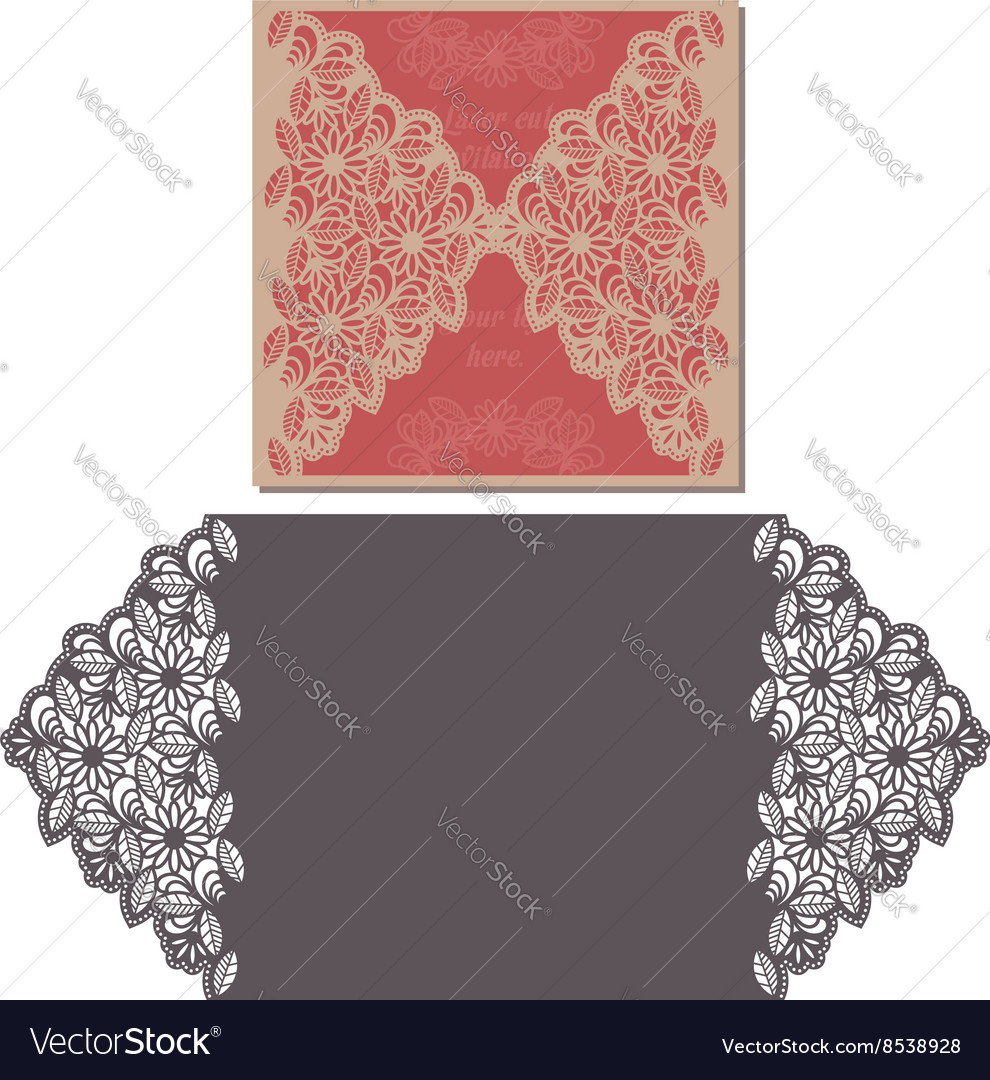 Laser cut pattern for invitation card for wedding vector image