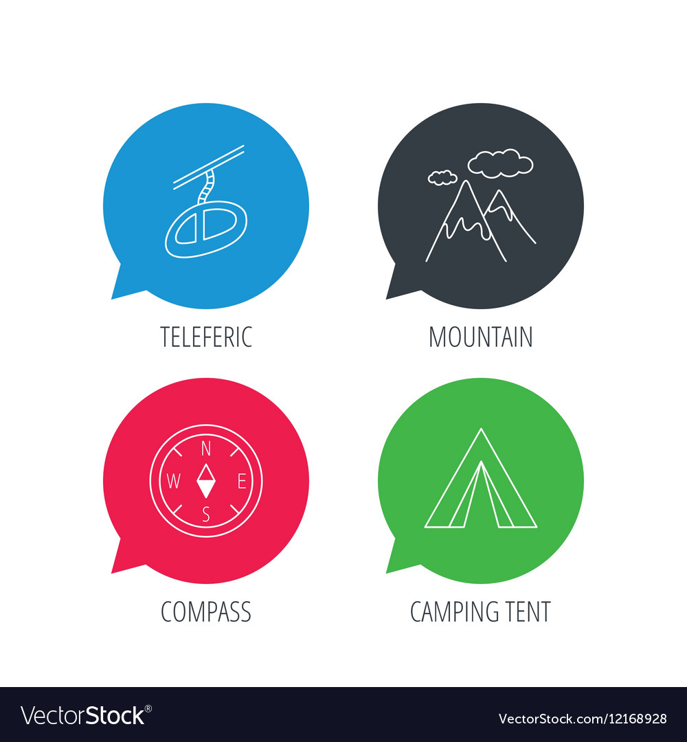 Mountain camping tent and teleferic icons