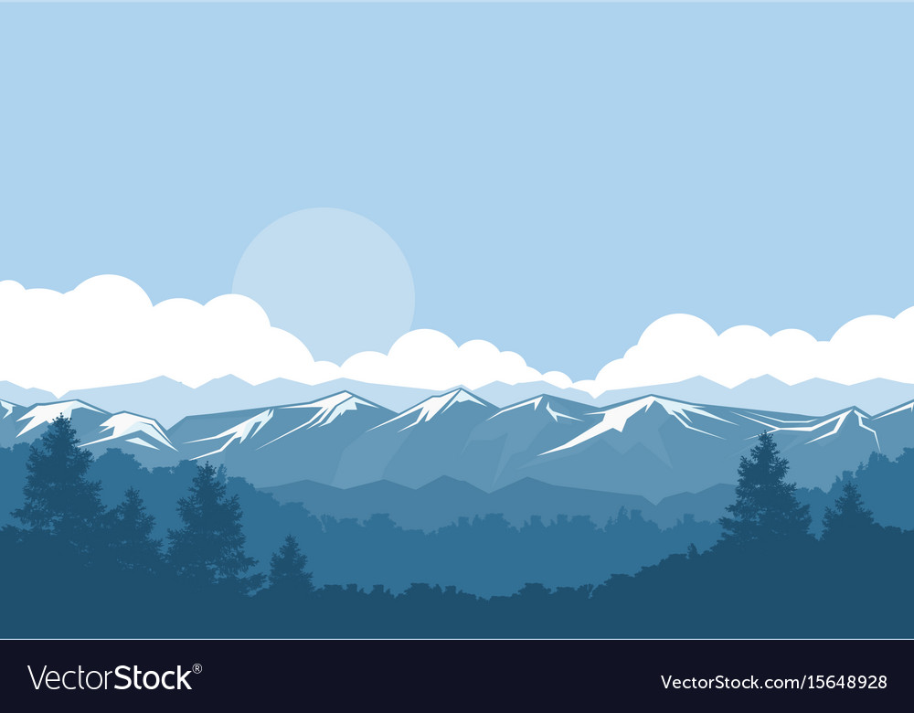 Mountains and forest foggy landscape with vector image