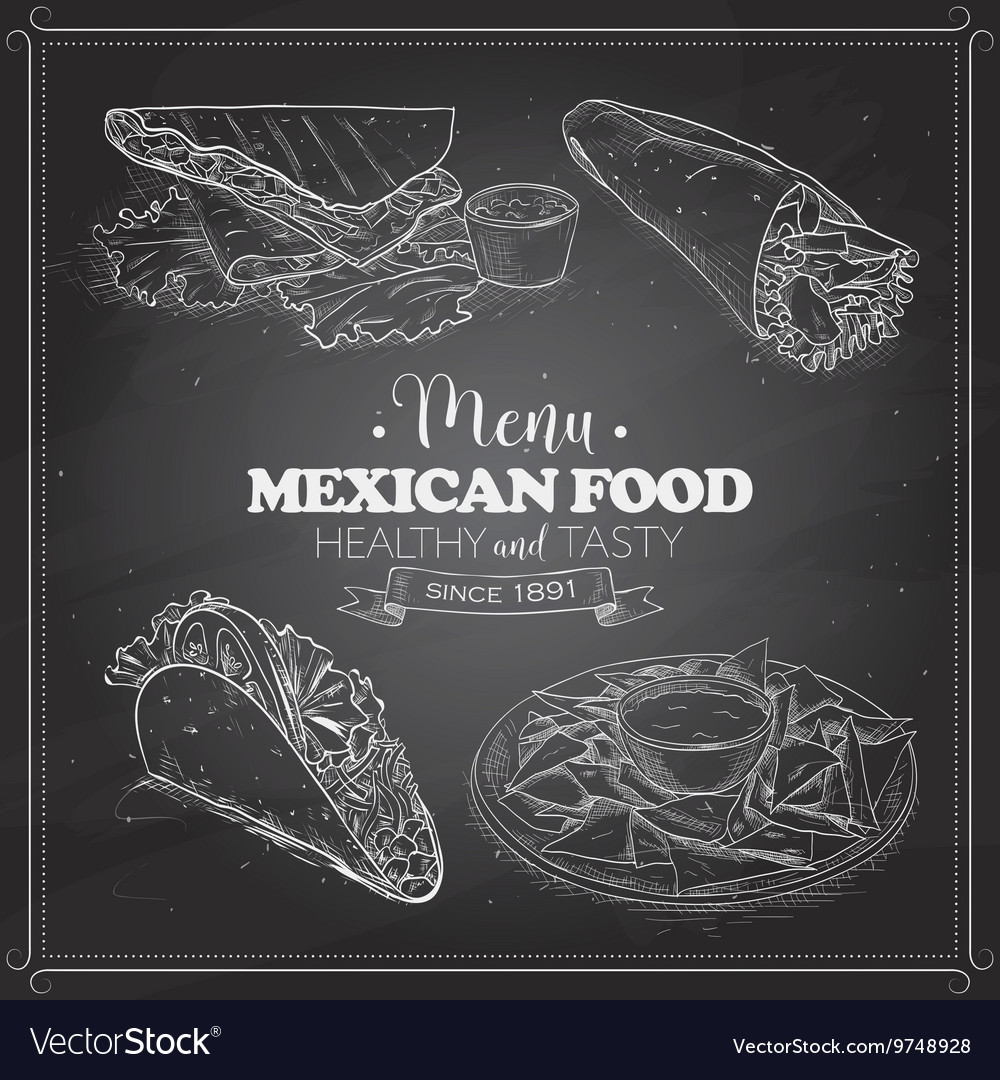 Scetch of mexican food menu on a black board