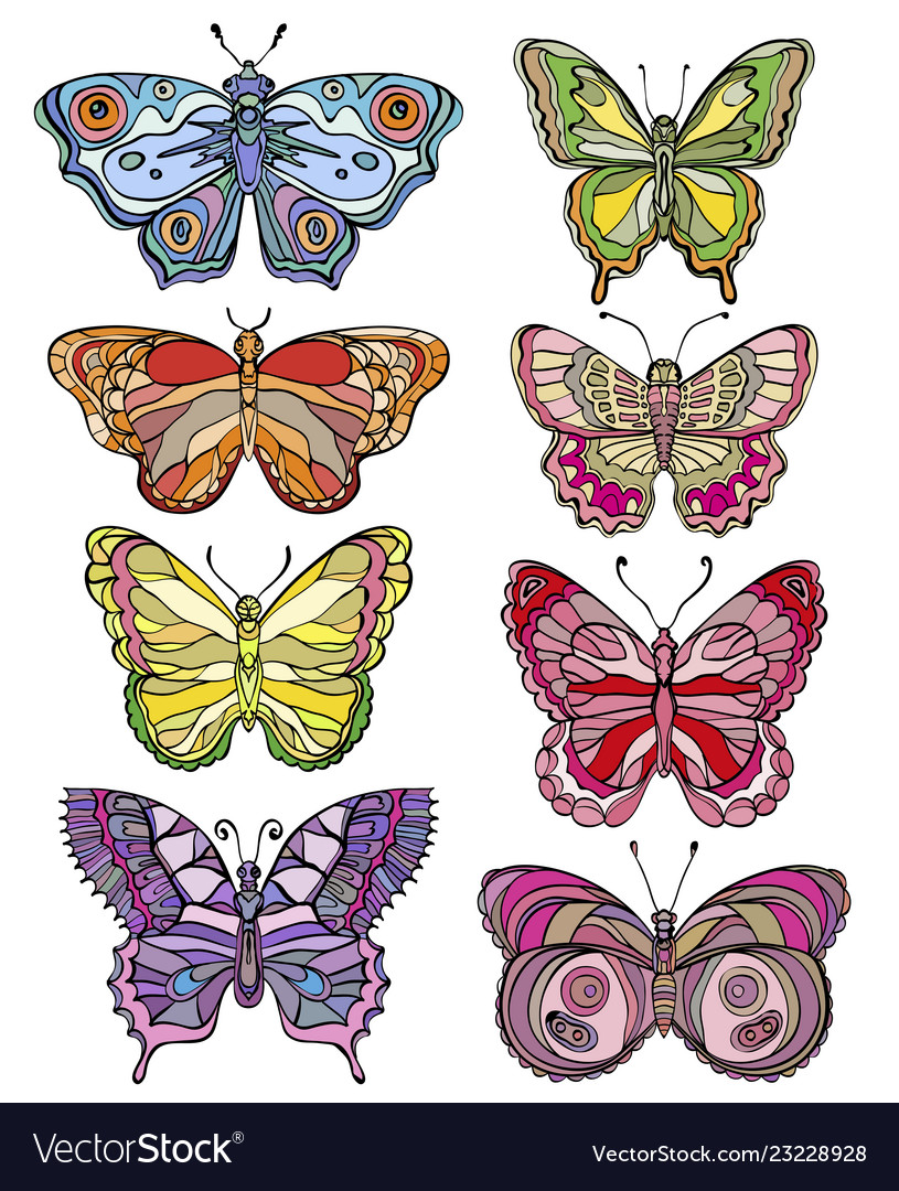 Set of beautiful and colorful butterflies
