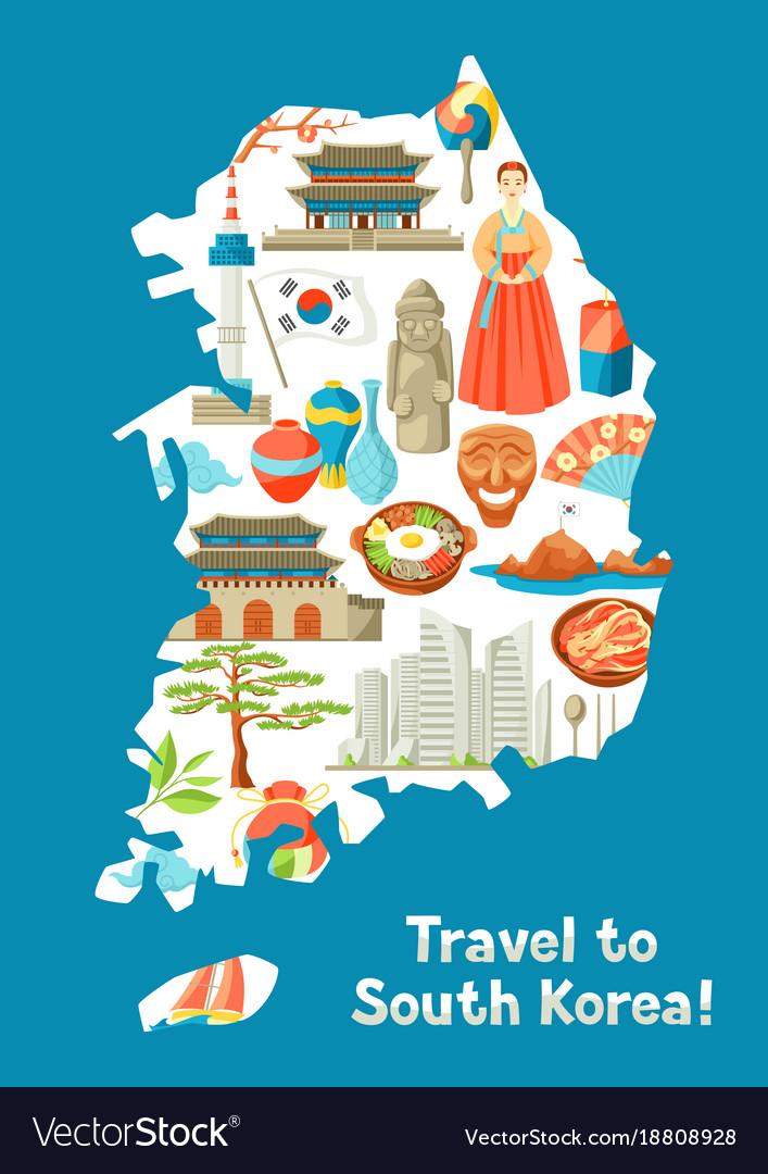 South korea map design korean traditional symbols vector image for Map designer free