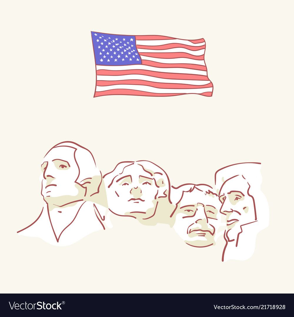 Usa founding fathers flag hand drawn style