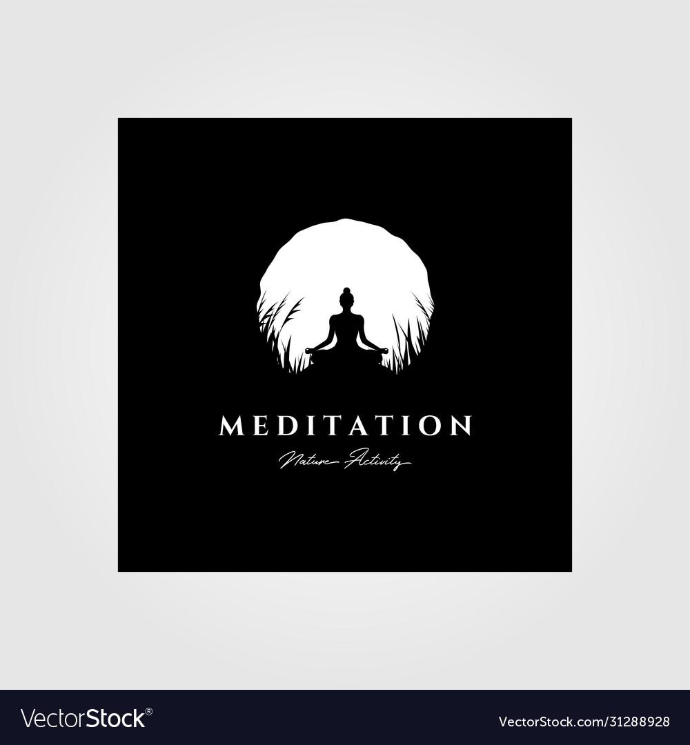 yoga meditation logo moon background design vector image yoga meditation logo moon background design vector image